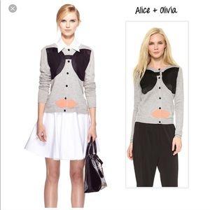 Alice + Olivia gray Stace Face appliqué cardigan M